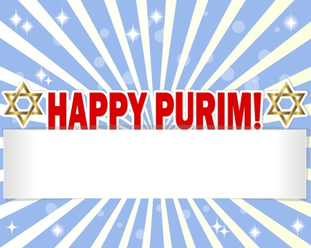 pentateuch: Stickers Happy Purim and blank banner against the blue rays. Vector illustration.