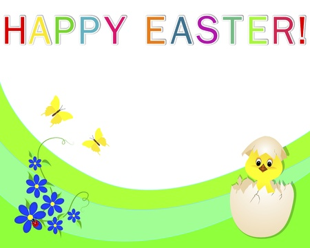 Easter banner with a chicken in a shell, a flowers and ladybird. Vector illustration. Vector