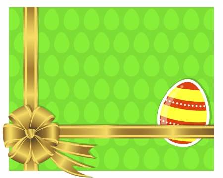 10eps: Easter card with a sticker egg and a golden bow. 10eps. Vector. Illustration