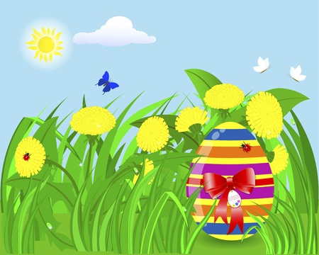 Easter egg with a red bow and a tag in the grass with dandelions, ladybugs and butterflies.   Vector