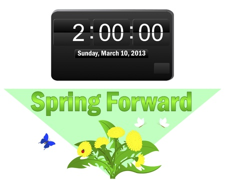 begins: Daylight saving time begins. Icon of an electronic clock; and a pointer Spring Forward. Vector illustration.