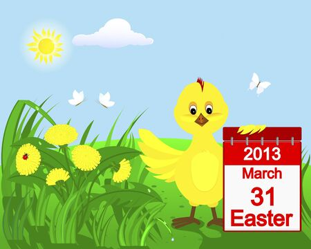 Cute chicken with a calendar in the grass with dandelions, ladybugs and butterflies   Vector