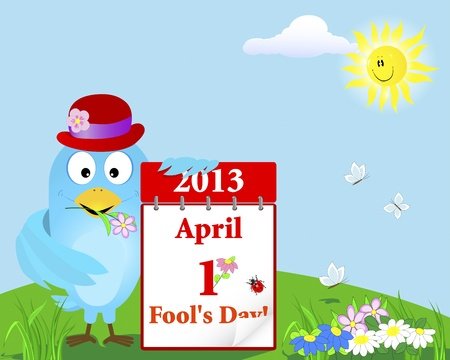 April Fools Day. Blue Bird in the hat with the calendar against the sky with a smiling sun. Vector illustration.