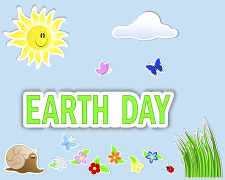 Earth Day. Set stickers, (banner, sun, cloud, flowers, grass and insects) Stock Vector - 18704894