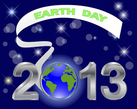 Earth Day. Silver 3-D 2013 with globe and banner on a dark background illustration Vector
