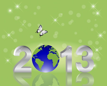 Earth Day background. Silver 3-D 2013 with globe and butterfly on a green illustration. Vector