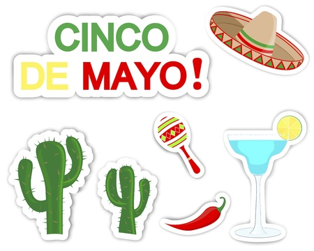 mayo: Cinco De Mayo. Set of stickers with symbols of the holiday.