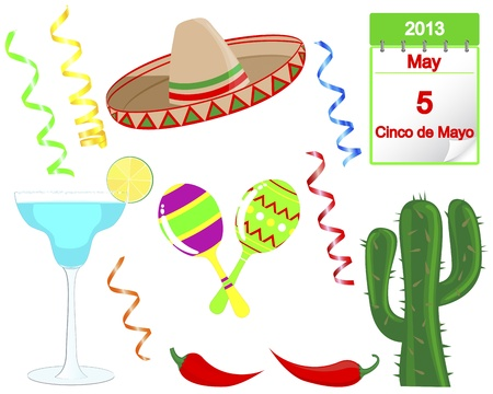 mexican party: Cinco De Mayo. Set of holiday elements and icons.  Illustration