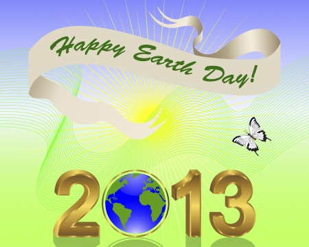 Earth Day background. Gold 3-D 2013 with globe and banner. Vector illustration. Vector