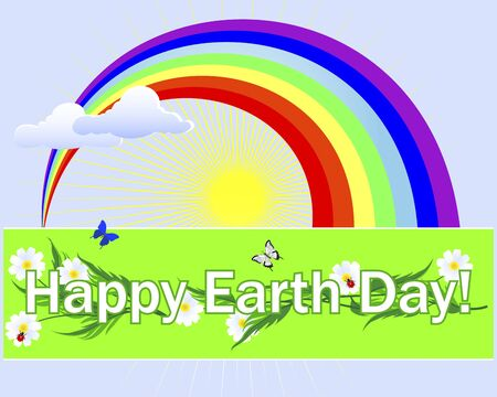Earth Day. Banner with text, camomiles, butterflies and ladybugs.  Vector