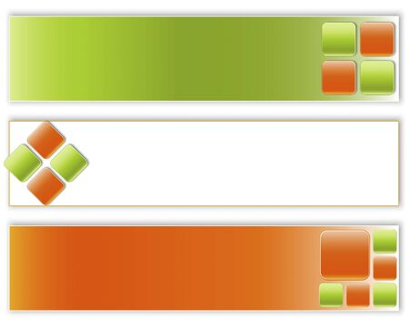 Set of banners with green and orange buttons. eps10. Vector illustration. Vector