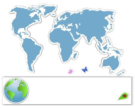 Earth Day. Sticker map with banners, globe and insects. 10 eps. Vector illustration. Vector