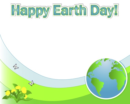 Earth Day banner with the globe; dandelions and butterflies. Vector illustration. Vector