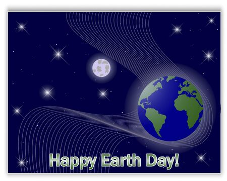 10eps: Earths Day card with a globe and the moon in the star sky. 10eps. Vector illustration.