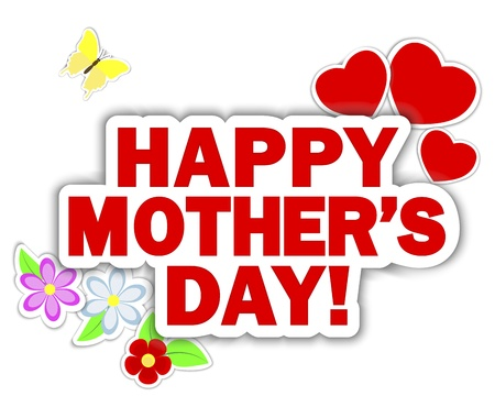 Stickers Mother s Day  Banner with hearts, flowers and butterflies   Vector