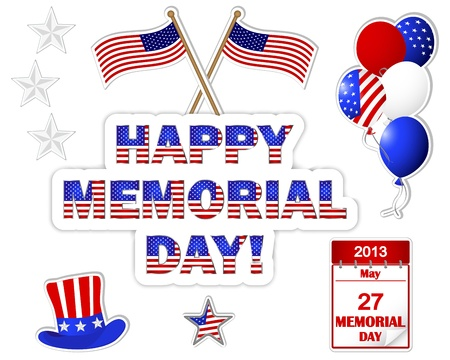 10eps: Memorial Day banner with a beautiful text, hat, flag and balloons. 10eps. Vector illustration. Illustration