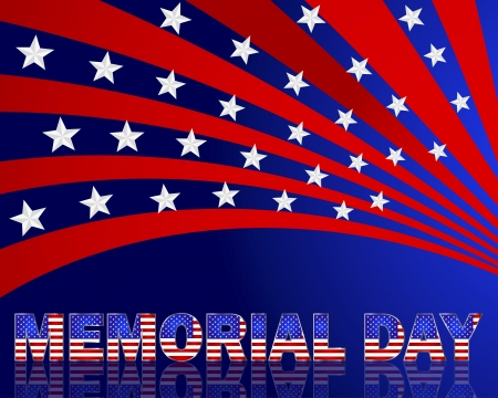 Memorial Day. Beautiful text with the pattern of the American flag on a festive background with stars.