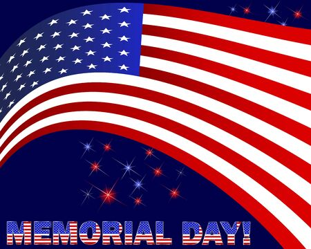 Memorial Day. American flag and beautiful text on a dark background with fireworks.  Vector