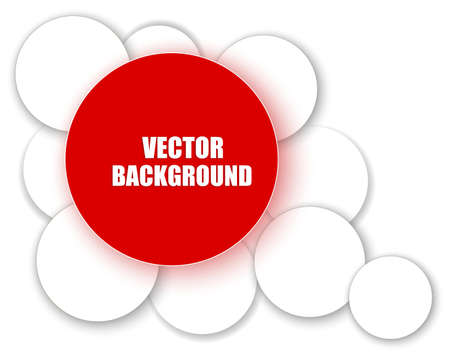 Red paper circle over the white circles.  Vector