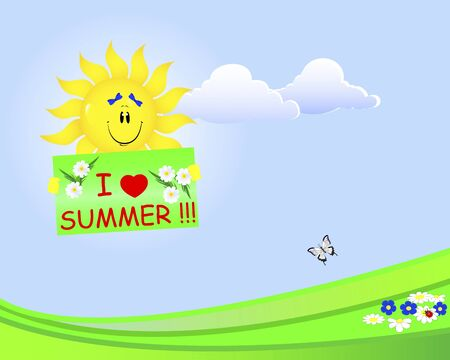 Summer time. Smiling sun with bows holds a placard.  Vector