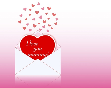 mammy: Mothers day. Envelope with a greeting card in the shape of heart.