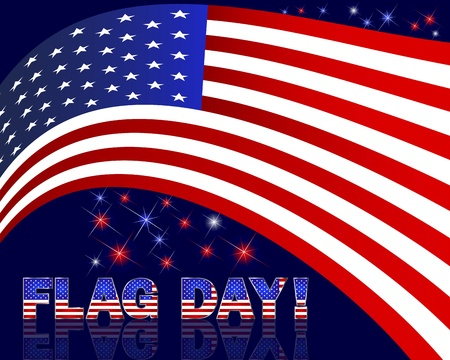 10eps: American Flag Day with beautiful text on a dark background and fireworks. 10eps. Vector illustration.