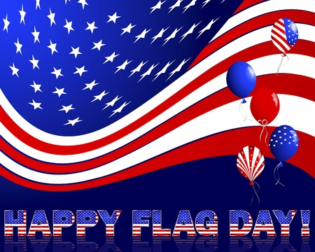 10eps: American Flag Day. Text and balloons with the pattern of the American flag. 10eps. Vector illustration.