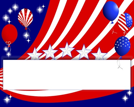 10eps: Background for the U.S. national holidays with a banner and balloons. 10eps. Vector illustration.
