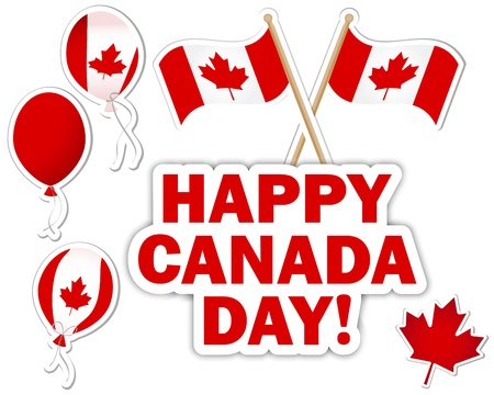 Canada Day stickers with a maple leaves, balloons and flags. 10 EPS. Vector illustration.