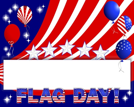 Flag Day. Banner and balloons with the pattern of the American flag. 10eps. Vector illustration. Vector