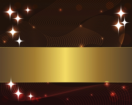 10eps: Abstract wave background with gold banner and stars. 10eps. Vector illustration.