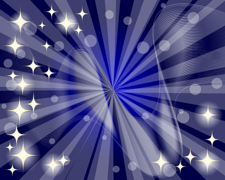 10eps: Abstract background with rays and sparkling stars. 10eps. Vector illustration.