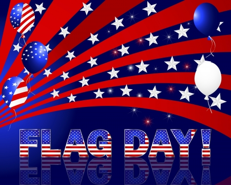 Flag Day. Beautiful text and balloons with the pattern of the American flag. 10eps. Vector illustration. Vector
