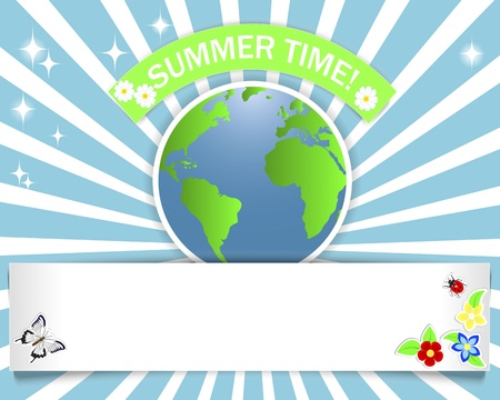 Summer time. Banner with stickers of the globe, flowers, butterfly and ladybug. 10 eps. Vector illustration. Stock Vector - 20073781