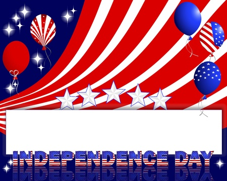 Independence Day. A beautiful text and balloons with the pattern of the American flag. Vector