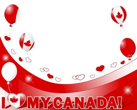 Canada Day. Banner with hearts and balloons. Vector illustration. Vector