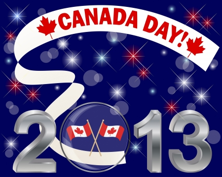 Canada Day with glass ball with flags and banner. Vector illustration. Vector