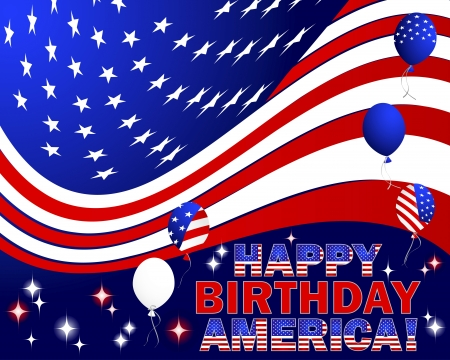Happy Birthday America text with balloons and the American flag. Vector illustration. Illustration