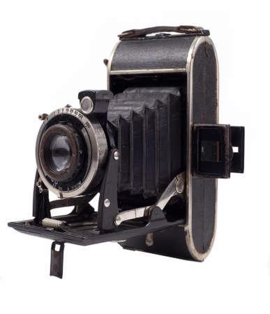 Retro camera on a white background photo