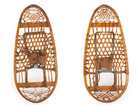 snowshoes: retro pair of snowshoes isolated on white