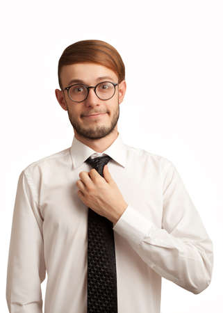 shy nerd employee trying to smile isolated on white Stock Photo