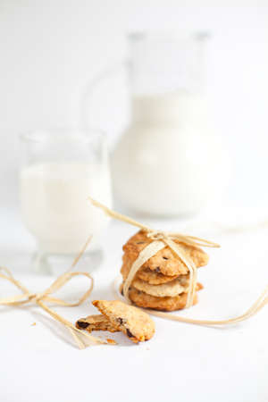 cookies and milk isolated on white background