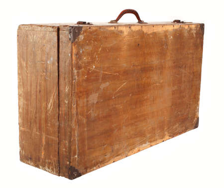 antique suitcase: Old suitcase on a white background Stock Photo
