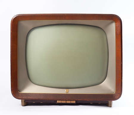 retro tv with wooden case isolated on white background Stock Photo