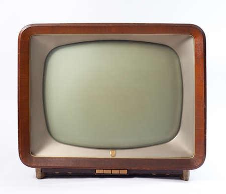 old technology: tv retr� con cassa di legno isolato su sfondo bianco Archivio Fotografico