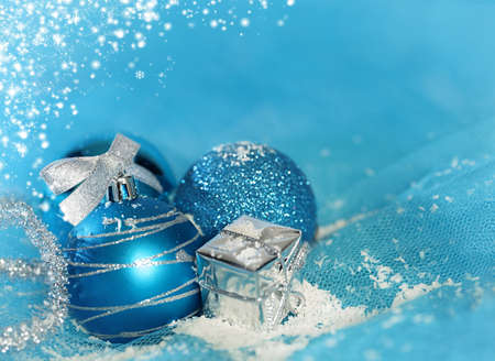 blue christmas background concept with various ornaments photo