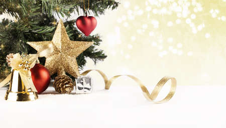 christmas background with various ornaments and bokeh photo