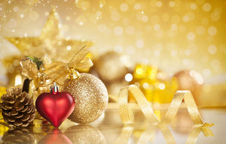 christmas background with various ornaments and shallow depth of field photo
