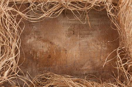 grunge frame made of straw and wood texture Stock Photo