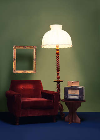 vintage decoration with vibrant colors and antique furniture photo